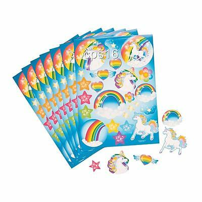 12 x Unicorn Sticker Sheets  Childrens Party Favours   Party Loot Bag Supplies