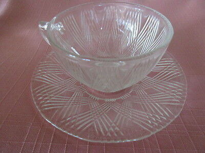 "Hazel Atlas cup & saucer clear ""Starlight"" excellent"