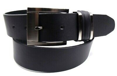 Mens High Quality Black Leather Belt With Silver Buckle By Milano