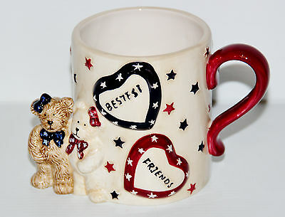 2005 Boyds Bears Home Collection Laverne & Shirley Bestest Friends Mug EUC