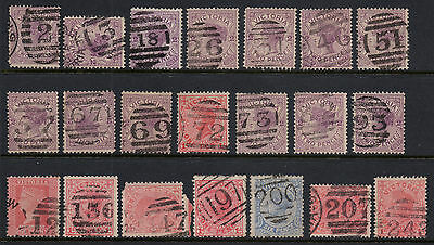 Australia - Victoria Barred Numeral postmarks on state stamps x 21