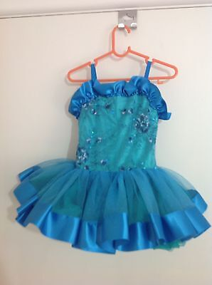 Girls Blue And Green Ballet Tutu Jazz Dance Costume Size 4-5