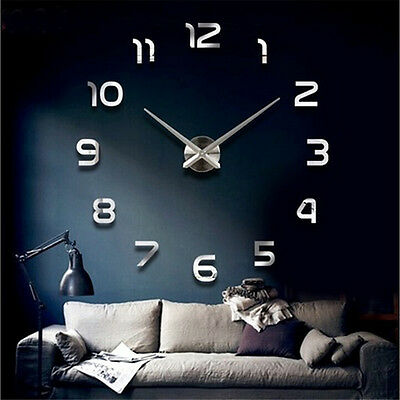 3D DIY Large number Wall Clock Decoration Crystal Mirror Sticker home office