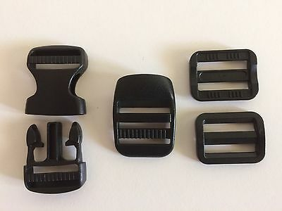 25mm Webbing Side Release Buckle Set. Incl Slider Locks And Ladder Lock Buckle.