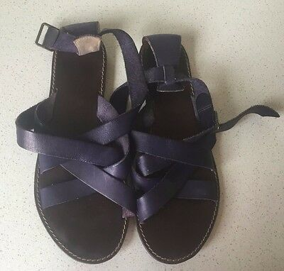 D.CO Copenhagen Navy Leather Strappy Sandals Size 40