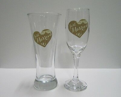 Wedding Glasses / Toasting Glasses / Schooner & Champagne Glass / Just Married