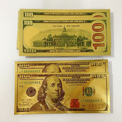 10pcs USA Gold Foil $100 Banknotes Collections Home Decor Carfts Arts Gifts