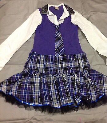 Girls Purple Schoolgirl Jazz Dance Costume Size 12-14
