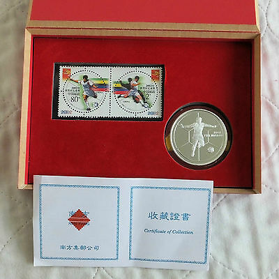 CHINA 2002 FIFA FOOTBALL WORLD CUP SILVER PROOF MEDAL AND STAMP SET - boxed/coa