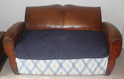 Antique vintage leather French Moustache Back Sofa bed 2 seater club chair