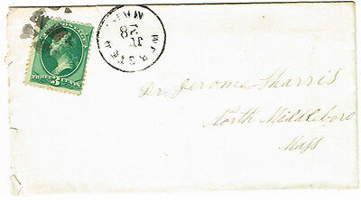 Old United States Postal History Cover & Letter Webster Mass. Postmark Used 1880