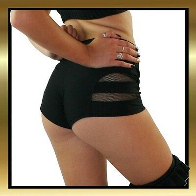 Black Spandex with Mesh Cut Out Dance Shorts for Pole Dancing/Dance