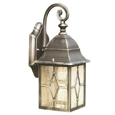 Searchlight Genoa Outdoor Wall Light Black & Silver With Lead Glass Ip44 1642