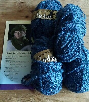 Knitting Kit Airforce Blue Style Beret & Neck Scarf with yarn & COPY of pattern