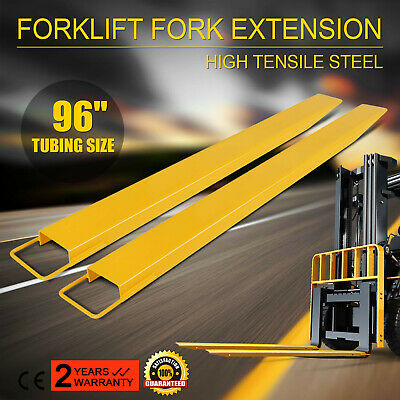 "96x5.9"" Forklift Pallet Fork Extensions Pair High Tensile Strength Retaining"