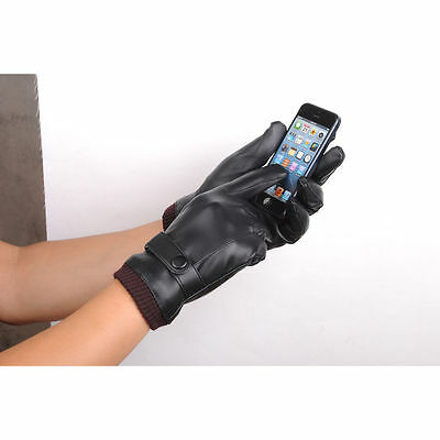 New Men Black Motorcycle Winter Leather Full Finger Touch Screen Warm Gloves AU
