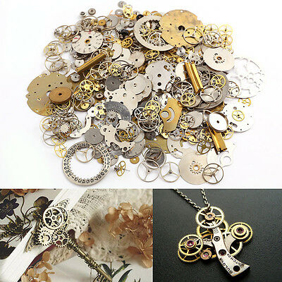 50g Lot Steampunk Old Watch Parts Pieces GEARS COGS WHEEL Novelty DIY Craft Punk