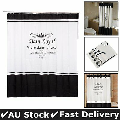 Bathroom Shower Curtains With 12 hooks 1.8x2M Long Black And White Waterproof