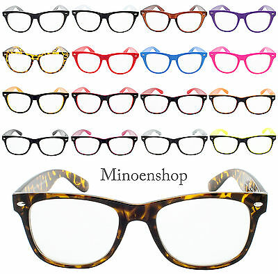 Classic Hornned Rim Geek Nerd Clear Lens Glasses Unisex Fashion Vtg Color Frame