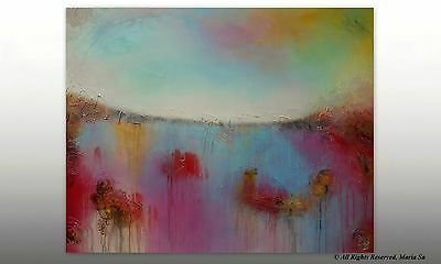 Colourful Painting Large Acrylic Abstract Art Original Pink Blue Textured Decor