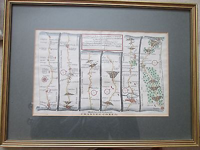 Antique Map of the road from London to St. Davids