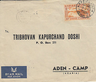 C 543 Ethiopia 1960 air cover to Aden; attractive. Good backmarks.
