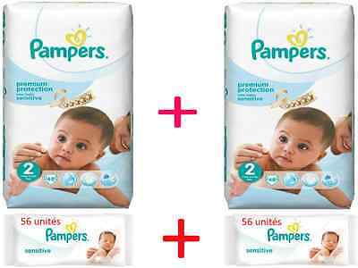 96 couches Pampers NEW BABY SENSITIVE Taille 2 (2 paquets de 48 couches) à 27€