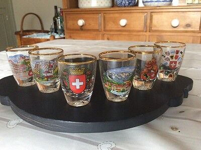 cities of the world gold rimmed shot glasses