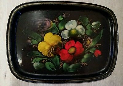 Vintage Hand Painted Rectangle RUSSIAN Metal FLORAL TOLEWARE Tray