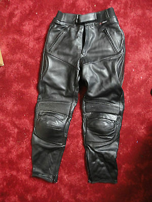 Mens Armoured Motorcycle Biker Black Leather Trousers Motorbike Jeans SIZE 36