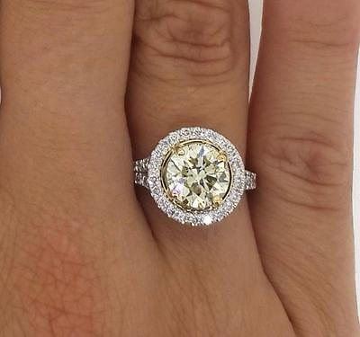 3.25 ct VS1 Round Cut Diamond Solitaire Engagement Ring White Gold 18k 263020