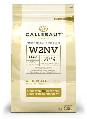 Callebaut White Chocolate Chips 1kg for baking, melting, cooking, fountains