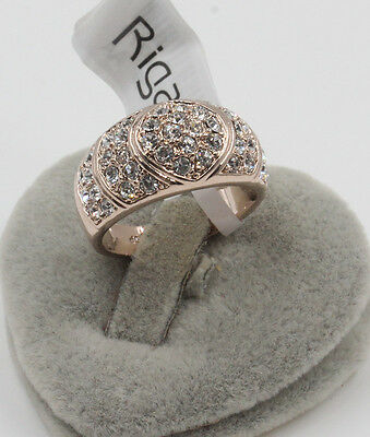 Genuine ROSE Gold  Engagement Eternity Ring Simulated Diamond size 6.5.