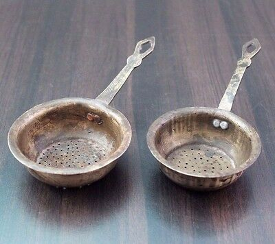 Lot of Two 1900's Old Antique Beautiful Brass Kitchen Strainer / Kitchenware#852