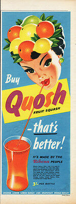 1955 QUOSH FRUIT SQUASH Tall Format Authentic Vintage Magazine Soft Drink Ad