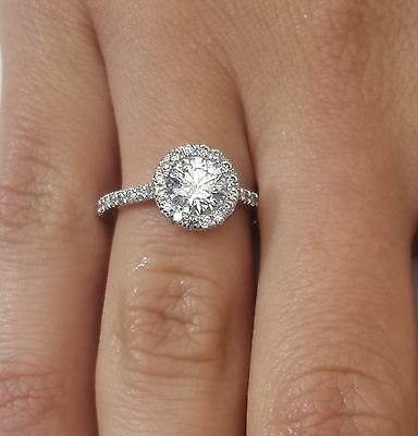 1.59 ct Round Cut Diamond Engagement Ring SI1/D 14K White Gold 261013