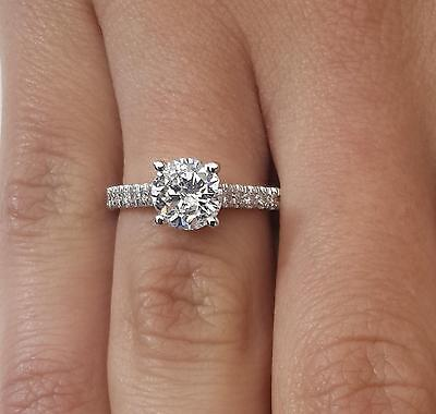 2 ct Round Cut Diamond Engagement Ring SI1/D 18K White Gold 261016