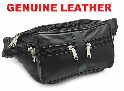 Large Travel Leather Bum Bag Money Waist Belt Pack Holiday Money Fanny Pouch