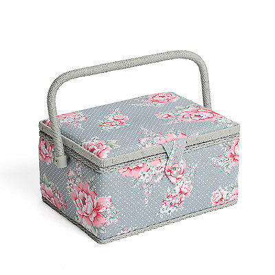 NEW | Hobby Gift MRM/190 | Beautiful Bloom Print Med Sewing Basket | 18½x26x15cm