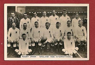 1935 ENGLAND RUGBY UNION INTERNATIONAL TEAM PHOTO  Original photocard Team named