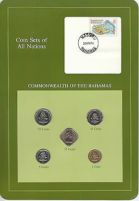 Coins of All Nations Set - Bahamas - 5 Coins 1969-84