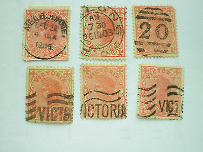 Australia Victoria 6 used stamps with post marks