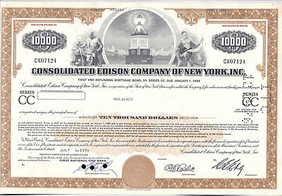 Consolidated Edison Company of New York Bond Stock Certificate 1000 $