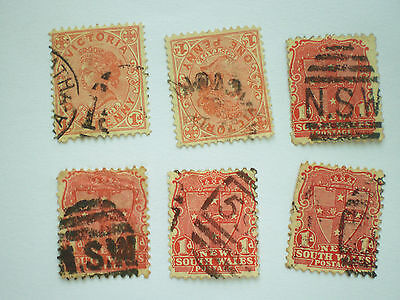 Australia 2 Victoria and 4 NSW used stamps