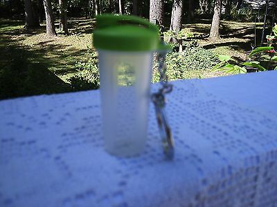 Tupperware NEW Green Mini Quick Shake Key Chain Store Pills Supplements Collect