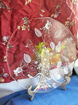 Glass PARTY PLATE PLATTER~Floral Roses~ made in Germany~Clear~GLAS GALERIE