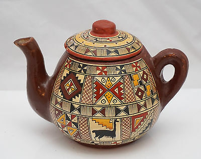 STUNNING & RARE LATE C19th KABYLE ALGERIAN MOROCCAN FAIENCE POTTERY TEAPOT
