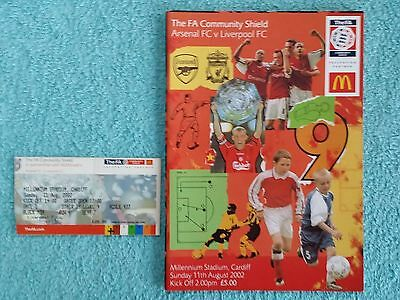 2002 - COMMUNITY SHIELD PROGRAMME + MATCH TICKET - ARSENAL v LIVERPOOL