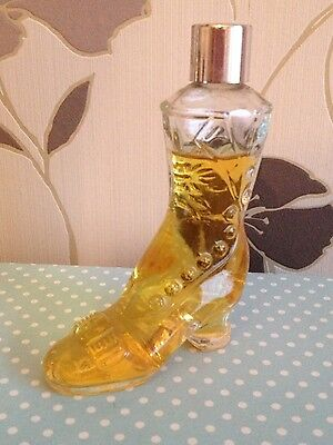 VINTAGE AVON CLEAR GLASS Victorian Ladies Boot Perfume Bottle nearly full.