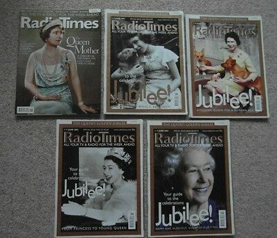 5 x Collectable Radio Times, The Queen's Jubilee +  Queen Mother Funeral issue,